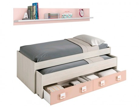 CAMA DOBLE BLANCO ALPES-ROSA + ESTANTE